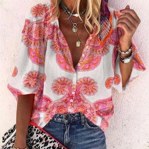 Daily Special Paisley Print Blouse-Pink-S-