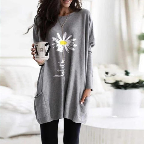 Daisy Round Neck Pockets Top-Grey-S-