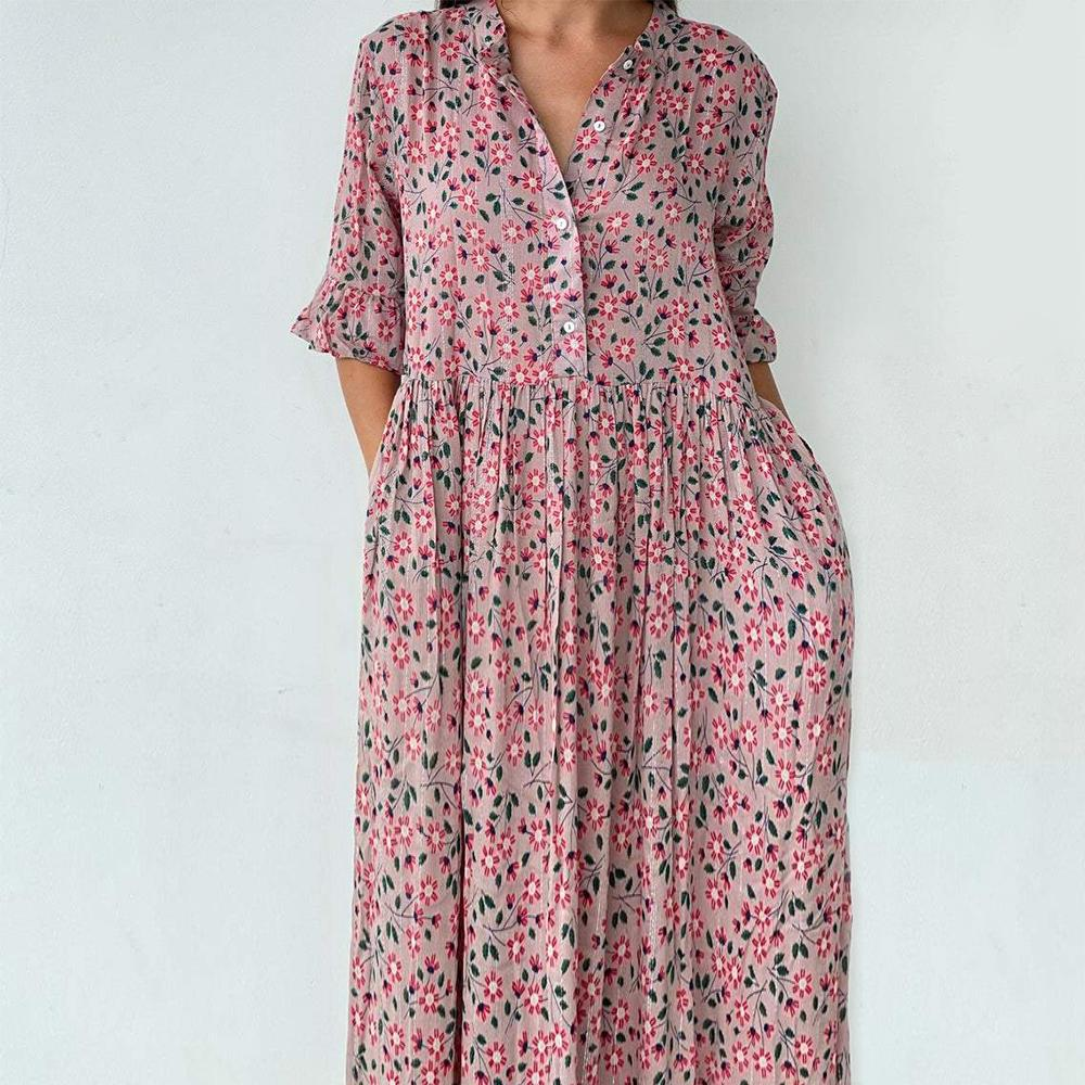 Dancing Around the Maypole Floral Print Midi Dress-Pink-S-