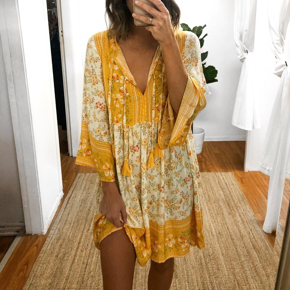 Dancing in the Daisies Printed Mini Dress-Yellow-S-