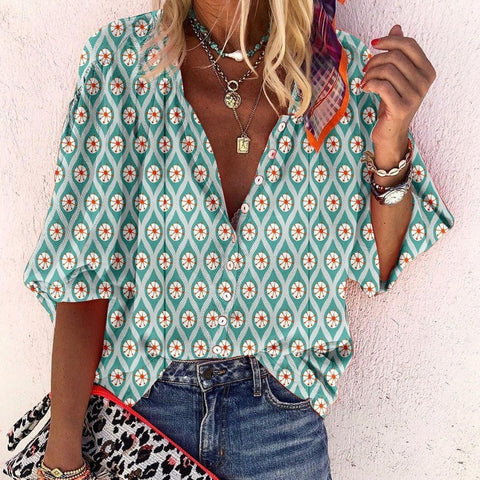 Diner Date Printed Shirt-Green-S-