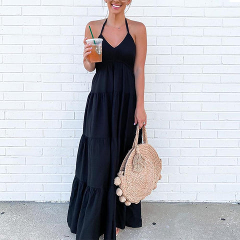 Distant Memory Black Maxi Dress-Black-S-