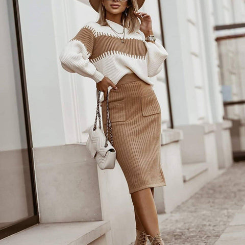 Double the Fun Ribbed Sweater and Skirt Set-Brown-S-
