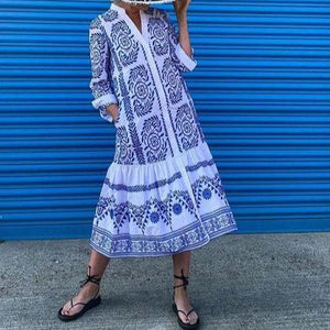 Elegant Blue Printed Loose Vacation Dress-Blue-S-