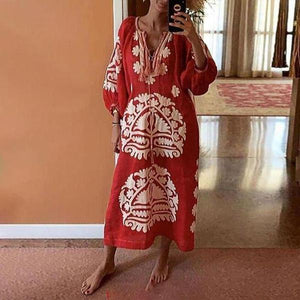 Elegant Ethnic Style Printed Vacation Dress-Red-S-