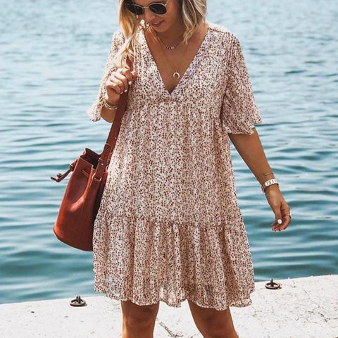 Elegant Floral Short Sleeve Pleated Mini Dress-APRICOT-S-