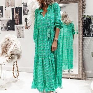 Elegant Green Printed Long Sleeve Loose Pleated Dress-Green-S-
