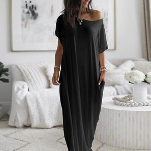 Elegant Short Sleeve Ultra Soft Split Flowing Basic Maxi Dress-BLACK-S-