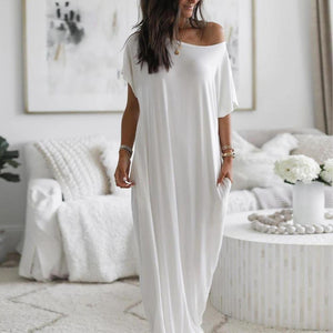 Elegant Short Sleeve Ultra Soft Split Flowing Basic Maxi Dress-WHITE-S-