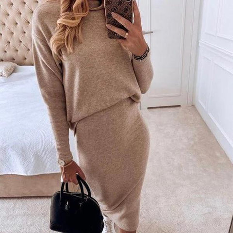 Elegant Turtle Neck Long Sleeve Midi Set Dress-APRICOT-S-