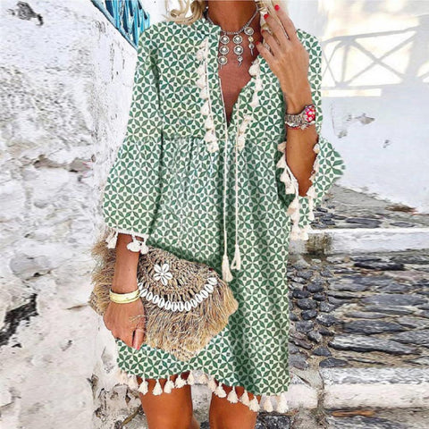 Elegant V-Neck 3/4 Sleeve Loose Floral Fringed Dress-Green-S-