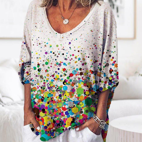 Fahion V-Neck Long Sleeve Printed Top-Multicolor-S-
