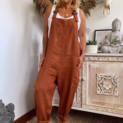 Fashion Brown Loose Casual Jumpsuit-Brown-S-