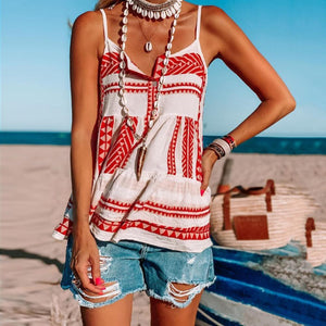 Fashion Casual Red Printed Camisole-Red-S-