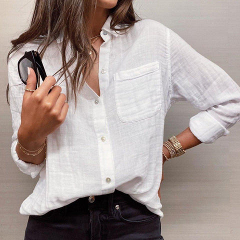 Fashion Commute Pure White V-Neck Long Sleeve Shirt-White-S-