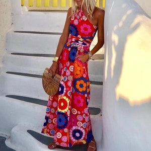 Fashion Floral Printed One Shoulder Maxi Dress-RED-S-