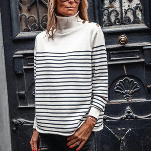 Fashion High Neck Striped Long Sleeve Sweater-White-S-