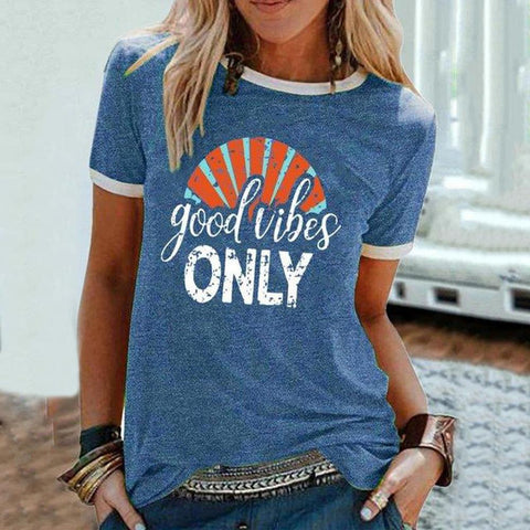 Fashion Letter Printed Round Neck Slim Fit T-Shirt-Blue-S-