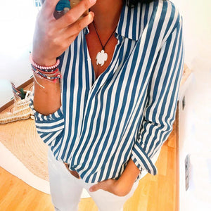 Fashion Long Sleeve Striped Blouse-Blue-S-