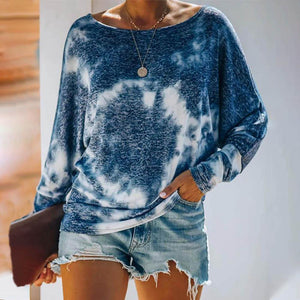 Fashion Loose Tie Dye Long Sleeve Top-Blue-S-