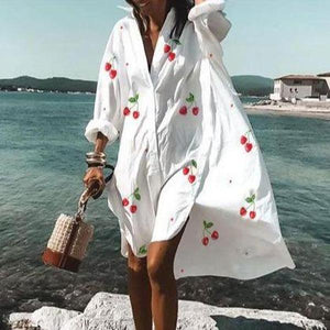 Fashion Loose V-Neck Long Sleeve Printed Beach Dress-White-S-