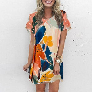 Fashion Multicolor Printed Crew Neck Mini Dress-Multicolor-S-