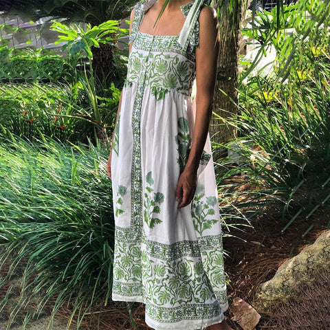 Fashion Simple Sling Printed Maxi Dress-Green-S-