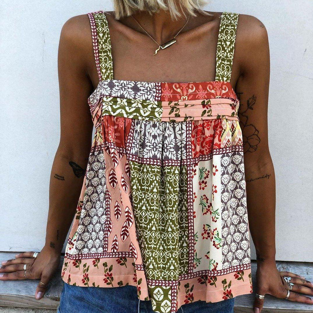 Fashion Sleeveless Straps Printed Top-Multicolor-S-