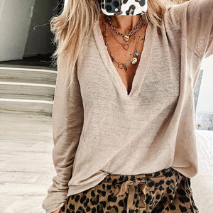Fashion Solid Color Long Sleeve Top-Apricot-S-