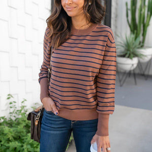 Fashion Striped Long Sleeve Sweatshirt-Brown-S-