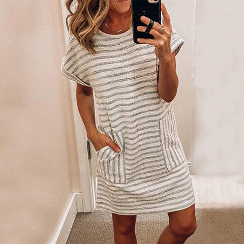 Fashion Striped Short Sleeve Mini Dress-White-S-
