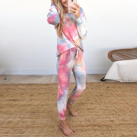 Fashion Tie Dye Long Sleeve Lounge Set-Multicolor-S-