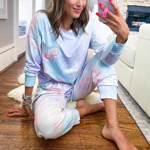 Fashion Tie Dye Long Sleeve Lounge Two Piece Set-Multicolor-S-