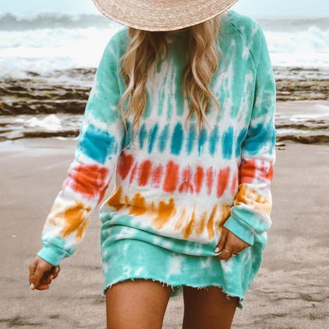 Fashion Tie Dye Long Sleeve Sweatshirt Dress-Green-S-