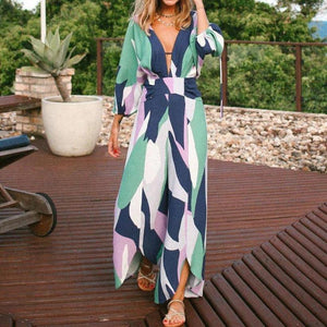 Fashion V-Neck Long Sleeve Printed Loose Jumpsuit-GREEN-S-