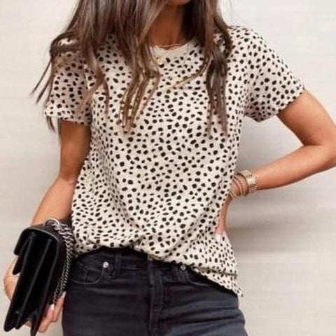 Fashionable Irregular Printed Round Neck Casual T-Shirt-Apricot-S-