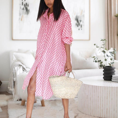 First Loves Floral Print Midi Dress-Pink-S-