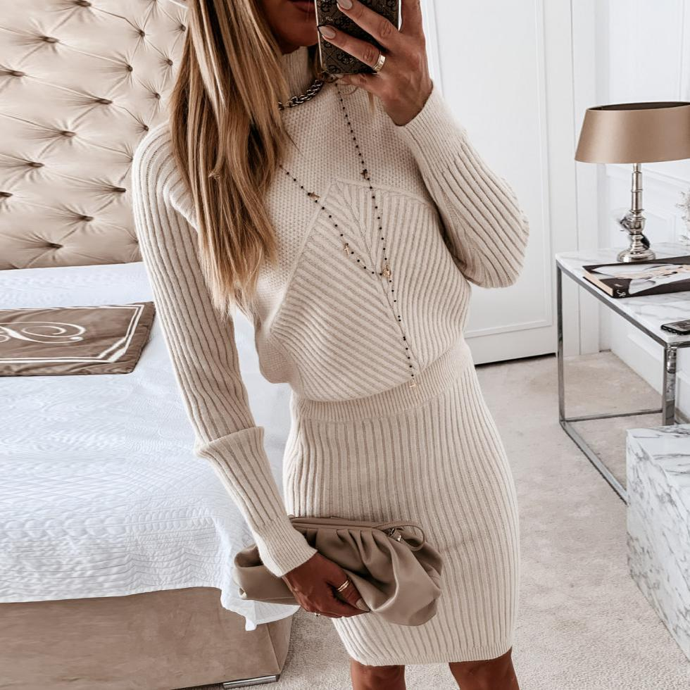 Fitted High Neck Plain Long Sleeve Sweater Dress-Apricot-S-