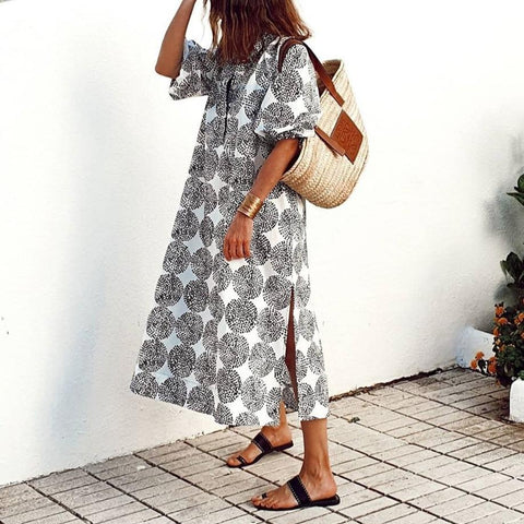 Five-Point Sleeve Printed Midi Dress-Black and White-S-