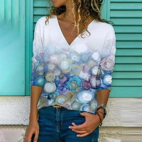 Floating Bubbled Printed Top-Multicolor-S-