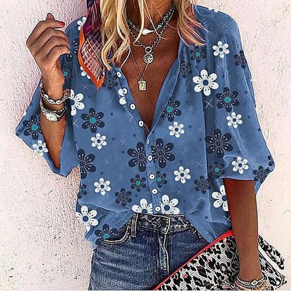 Floral Balloon Sleeve Buttoned V-Neck Blouse-Blue-S-