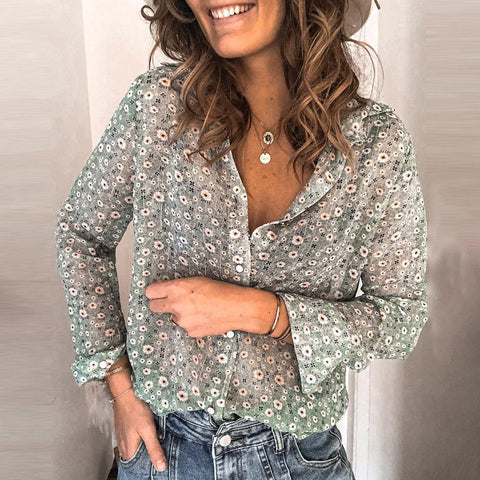 Floral Printed V-Neck Long Sleeve Shirt-Green-S-