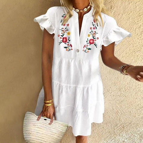 Floral Short Sleeve V-Neck Ruffled Mini Dress-White-S-