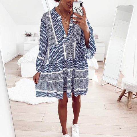 Fresh Bell Sleeve Print V-Neck Mini Dress-Blue-S-