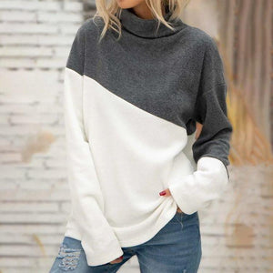 Fresh Color Block Turtleneck Sweater Top-Grey and White-S-