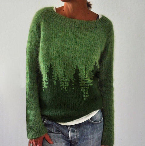 Fresh Long Sleeve Printed Sweater-Green-S-