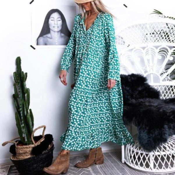 Fresh Love Floral Print Maxi Dress-GREEN-S-