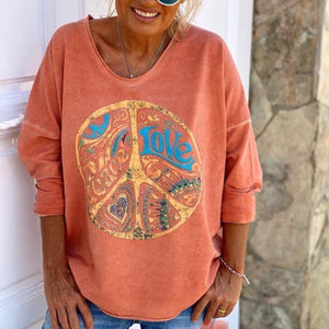 Fresh Print Long Sleeve Round Neck Top-Pumpkin-S-