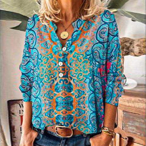 Fresh Print V-Neck Long Sleeve Blouse-Blue-S-