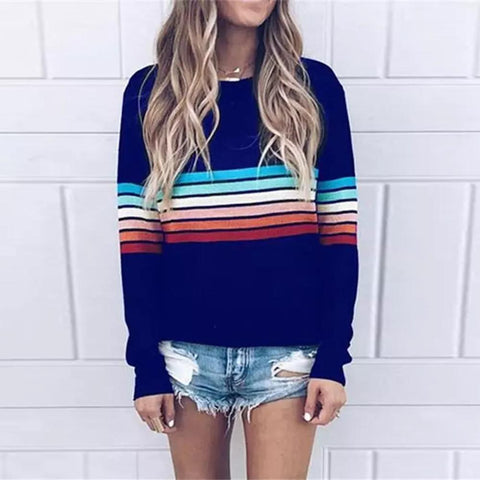 Fresh Striped Long-Sleeved Top-Navy-S-